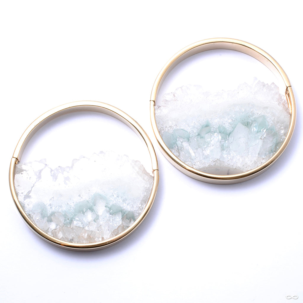 Large Muse Hoops in Yellow Gold with Fluorite from Buddha Jewelry
