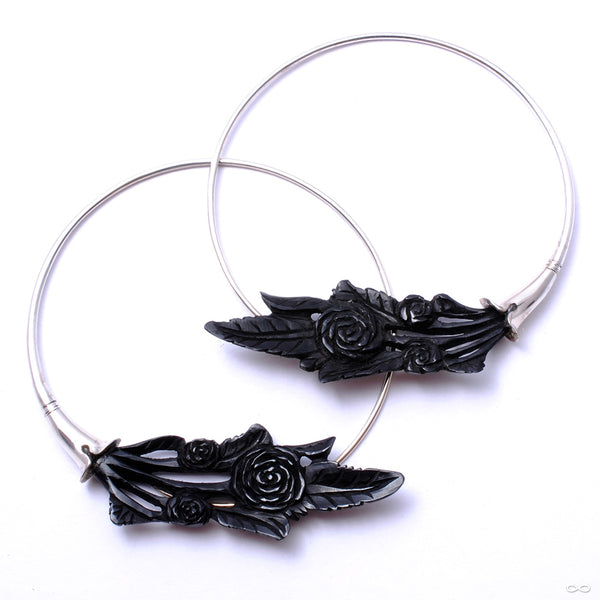 Pirouette Earrings from Maya Jewelry in silver with horn