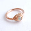 Nanda Pear Fixed Bead Ring in Gold from BVLA with White Opal