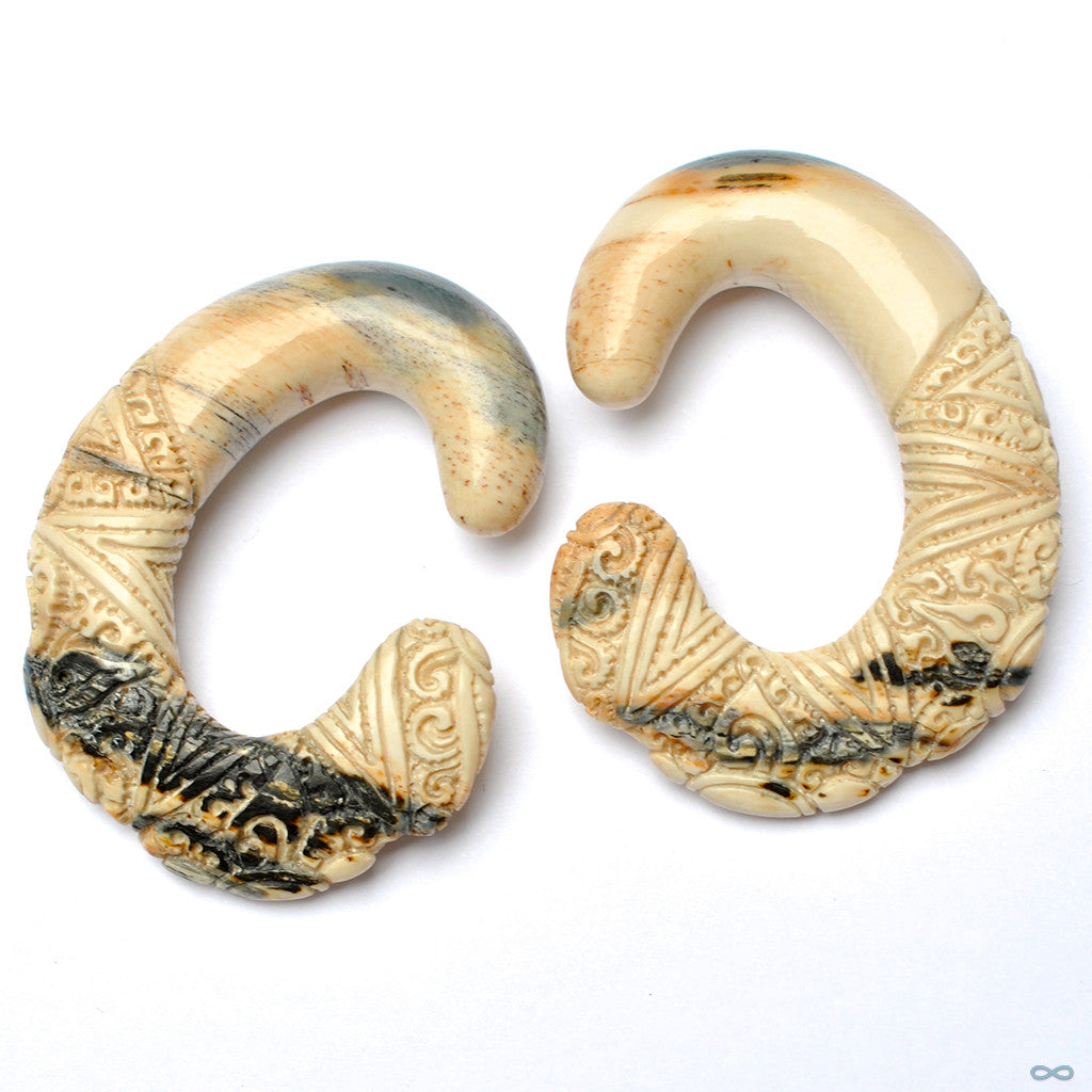 "Carved ""C"" Shape in Mammoth Ivory in 7/16"" from Diablo Organics"