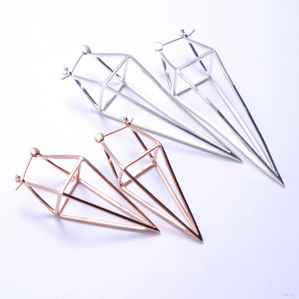 Diamond Cube Earrings from Tawapa in Assorted Metals