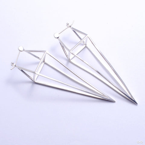 Diamond Cube Earrings from Tawapa in Silver-plated White Brass