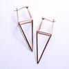Diamond Cube Earrings from Tawapa in Rose-gold-plated Brass