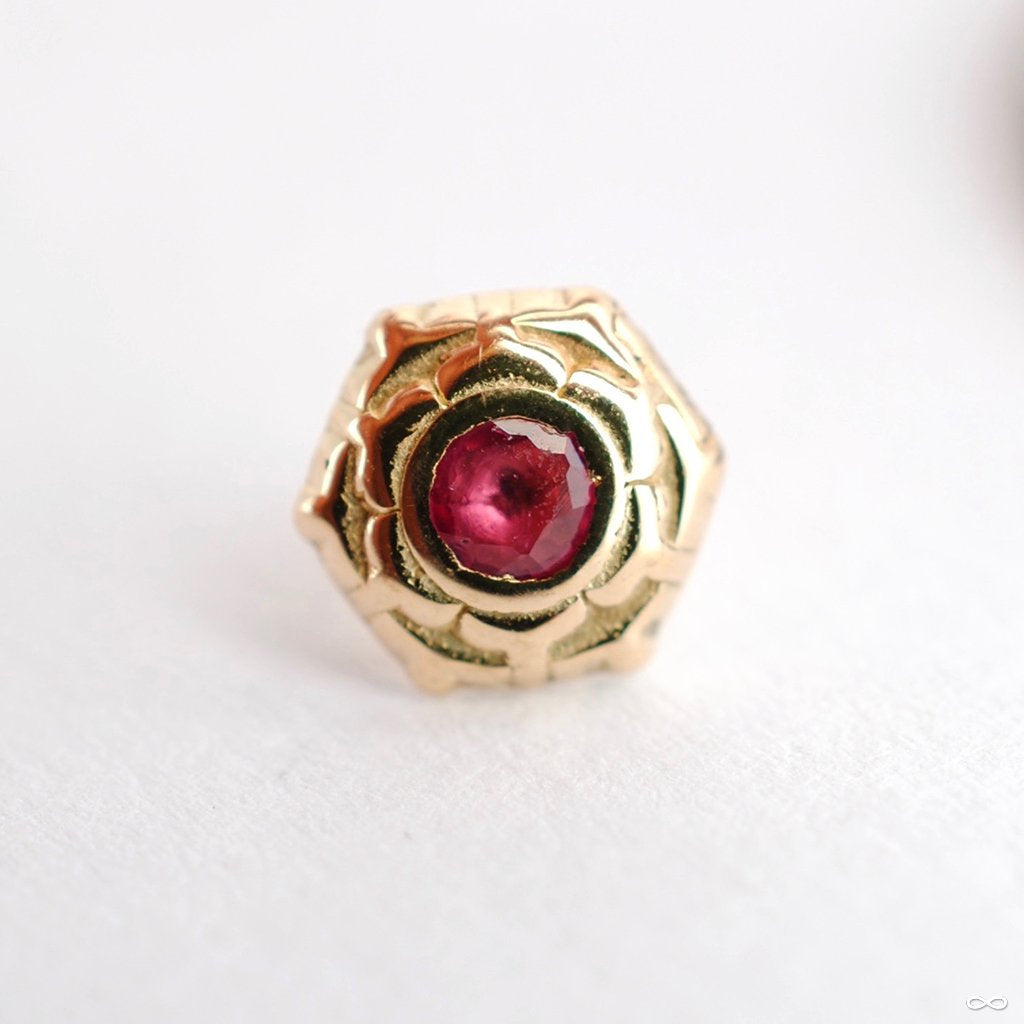 Lotus Press-fit End in Gold from Sacred Symbols with Ruby