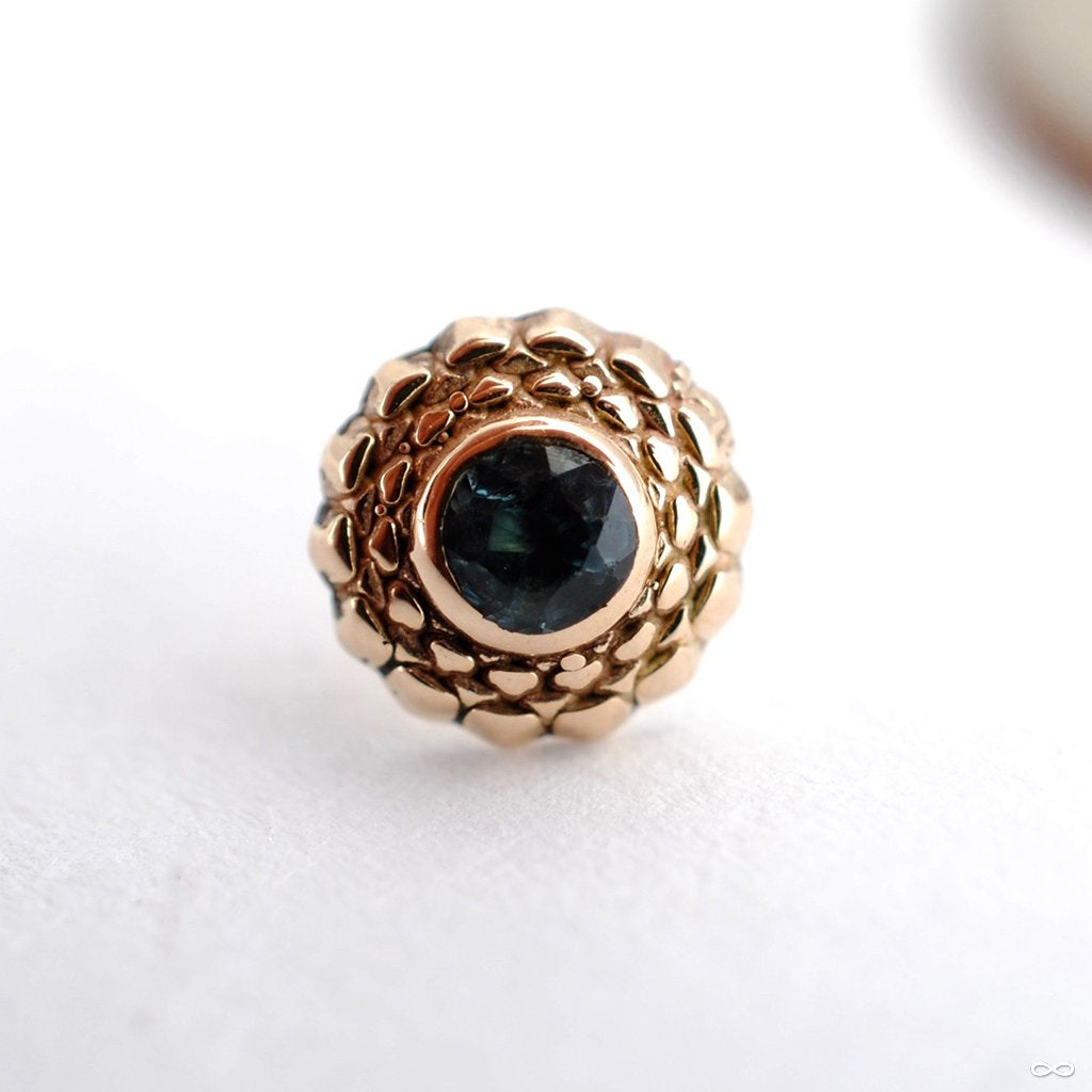 Zinnia Press-fit End in Gold from Sacred Symbols with Blue Topaz