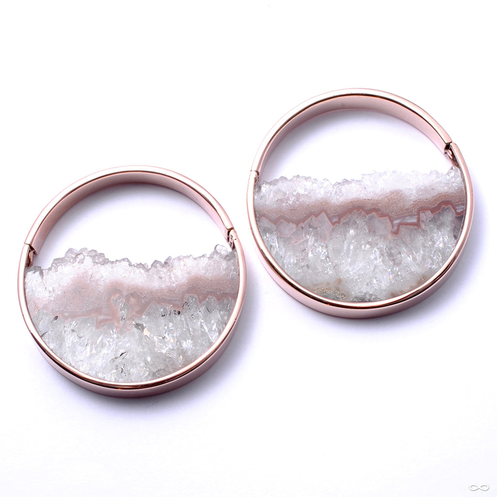 Muse Hoops in Rose Gold with Fluorite from Buddha Jewelry