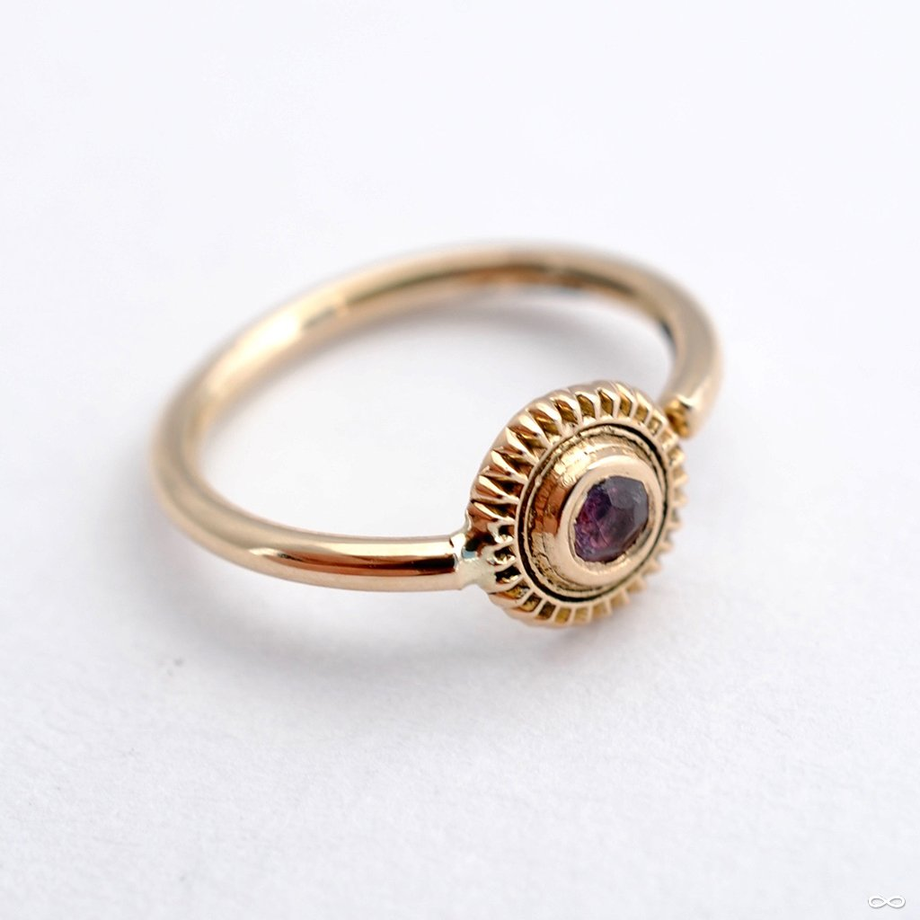 Textured Edge Fixed Bead Ring in Gold from Sacred Symbols with Pink Tourmaline