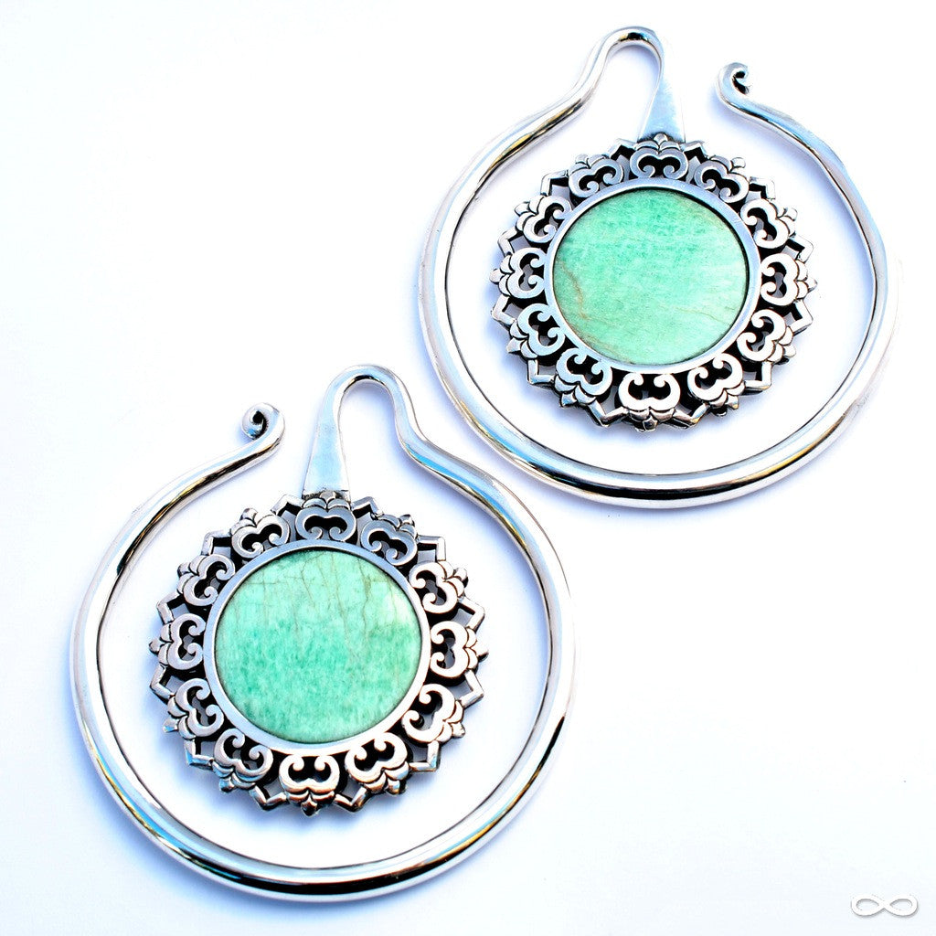 Eye of the Lotus in Silver with Amazonite from Maya Jewelry