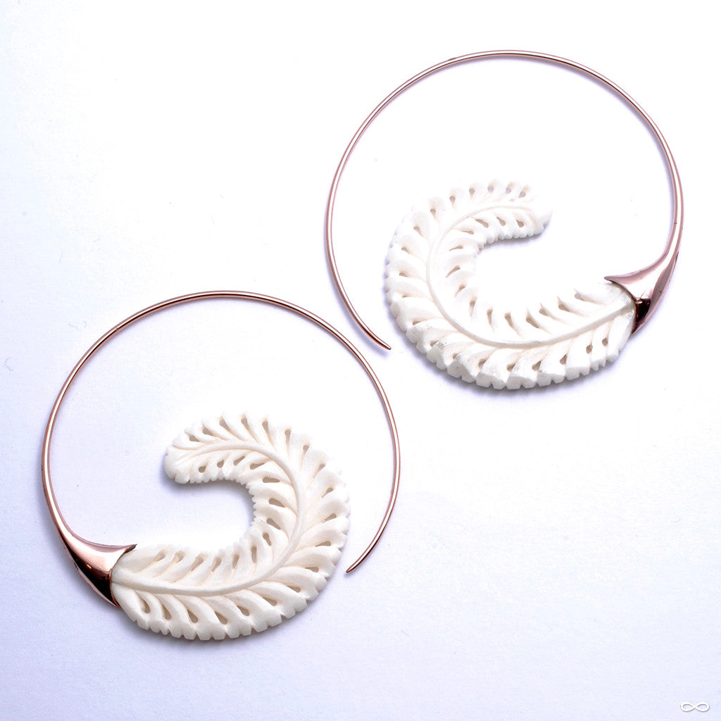Fairweather Frond Earrings from Maya Jewelry in Rose-gold-plated Copper with Bone
