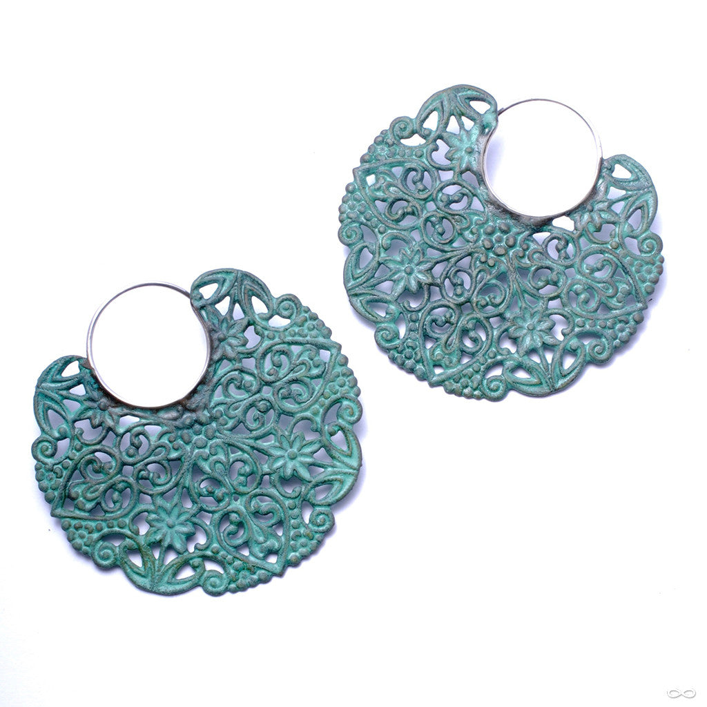Filigree Earrings with Verdigris Patina from Disco Medusa