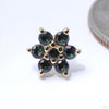 Flower Press-fit End in Gold from BVLA with Mystic Topaz