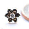 Flower Press-fit End in Gold from BVLA with Clear CZ & Smokey Quartz