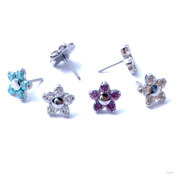Flower Press-fit End in Titanium from NeoMetal with Assorted Stones