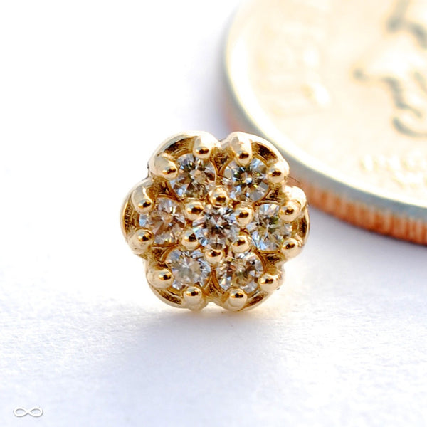 Flower Press-fit End in Gold from NeoMetal with Clear CZ