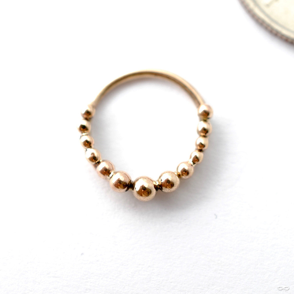 Graduating Beaded Seam Ring In Gold From Sacred Symbols