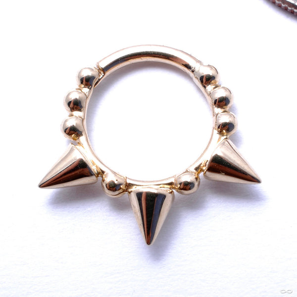 Granulated Triple Spike Clicker in Gold from Venus by Maria Tash in Yellow Gold