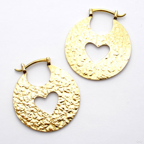 Hammered Hoops from Quetzalli in Yellow Brass