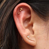 Outer Helix piercing with 6 Bead Triangle Cluster Press-fit End in Gold from BVLA