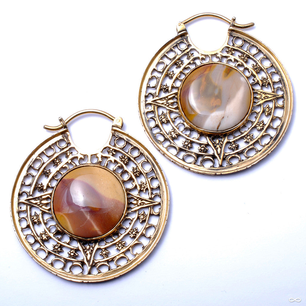 Isis Clasp Hoops with Mookaite from Diablo Organics