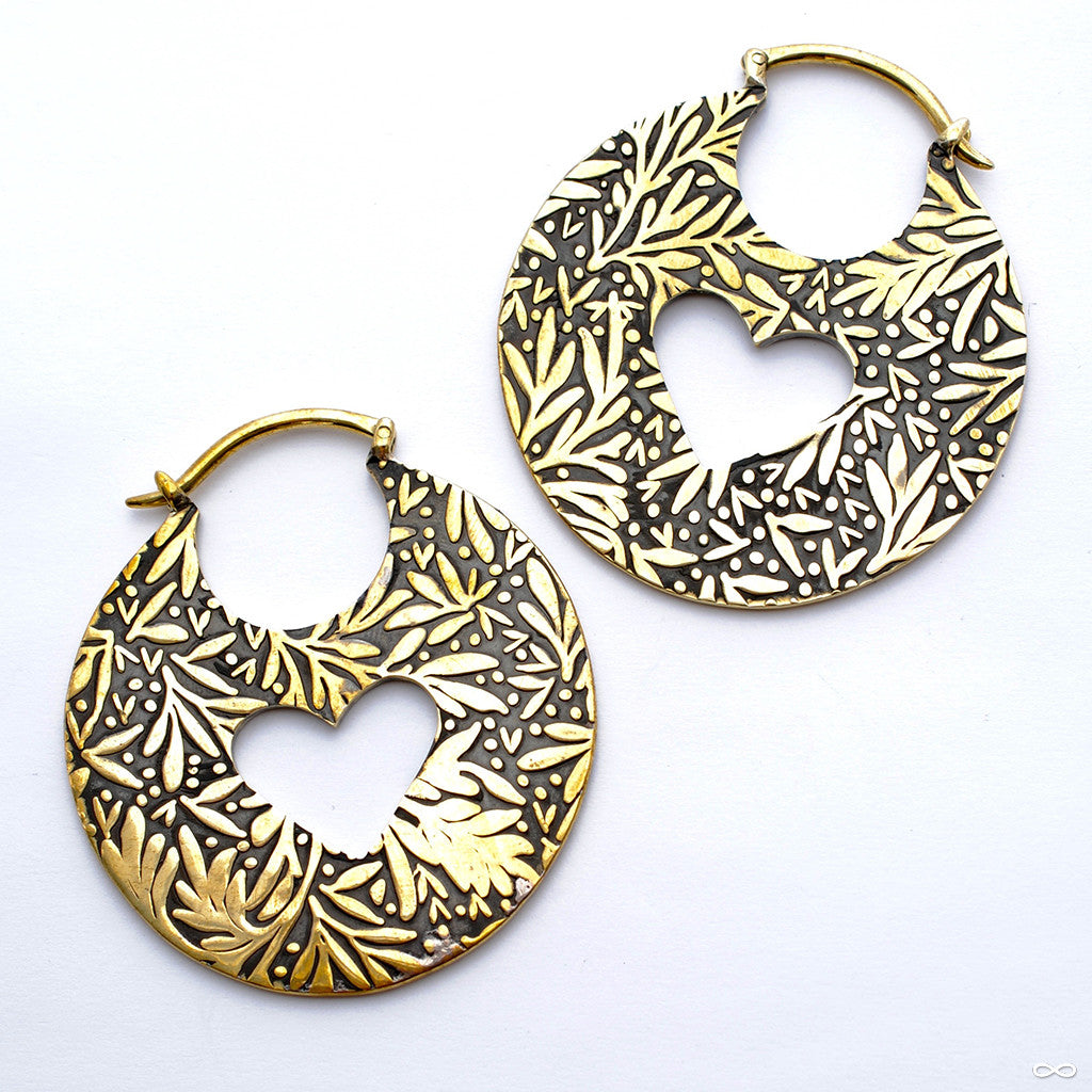 Leaf Hoops in Brass from Quetzalli