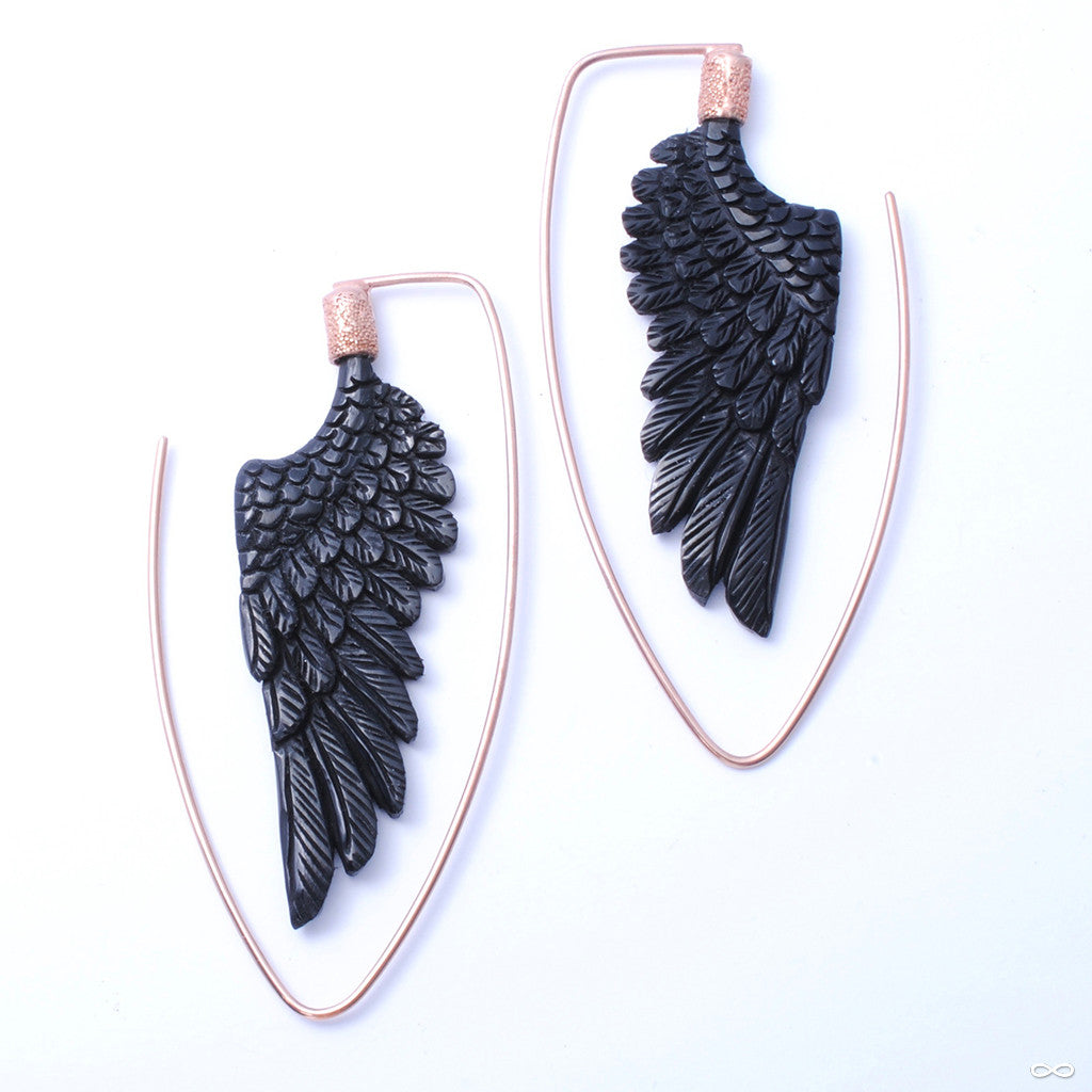 Little Wing Earrings from Maya Jewelry in Rose Gold-plated Copper with Horn