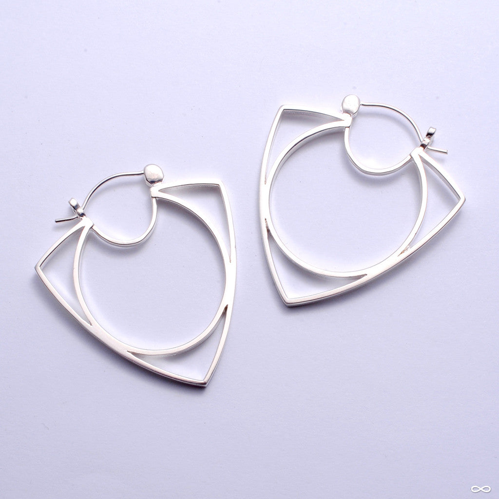 Ménage à Trois Earrings from Tawapa in Silver-plated-white-brass