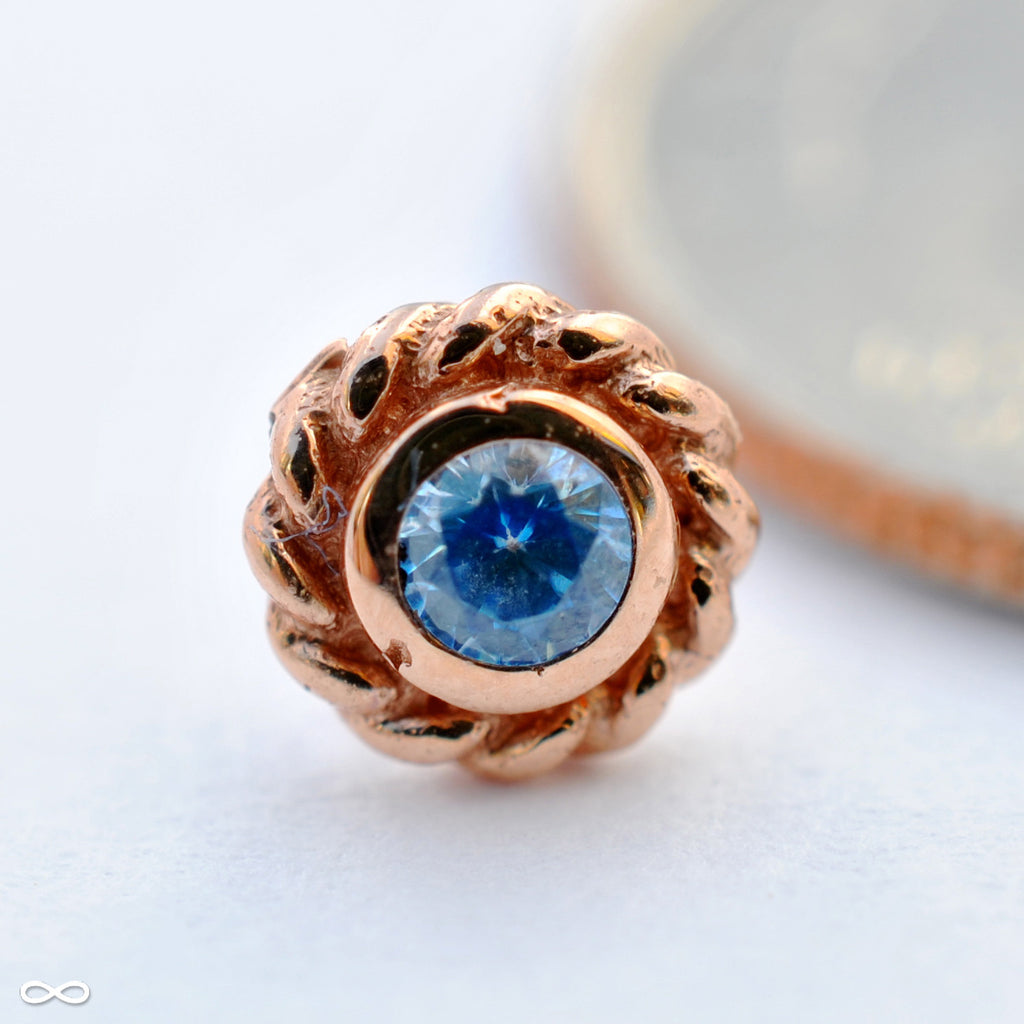Mini Choctaw Press-fit End in Gold from BVLA with Arctic Blue CZ