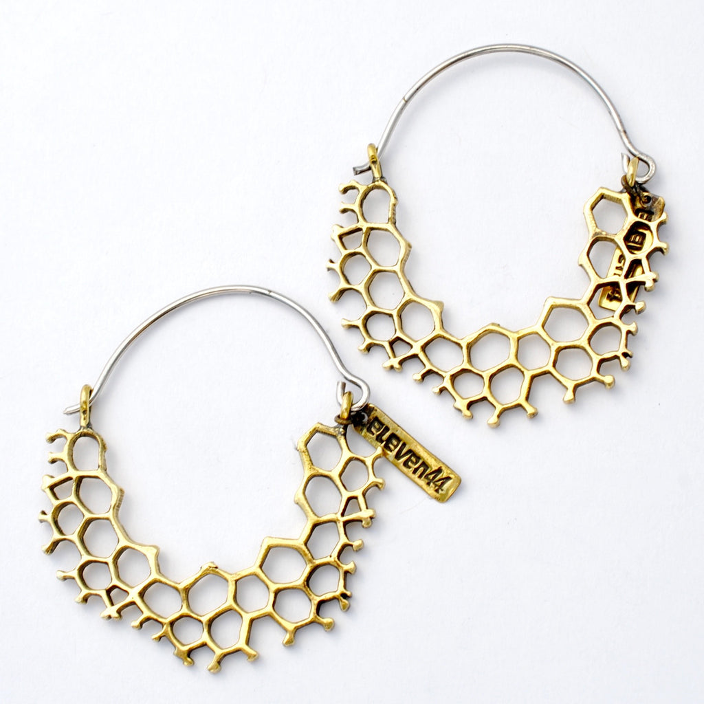 Mini Hex Hoop Earrings from Eleven44 in Brass