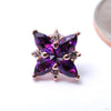 Mini Pleades Press-fit End in Gold from BVLA with Amethyst w/ Clear CZ