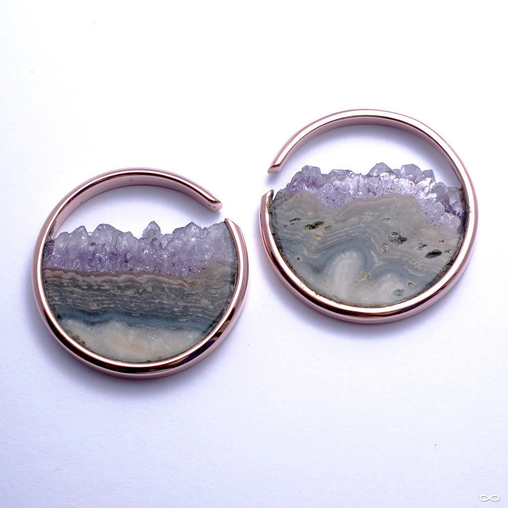 Large Muse Hoops in Rose Gold with Amethyst from Buddha Jewelry