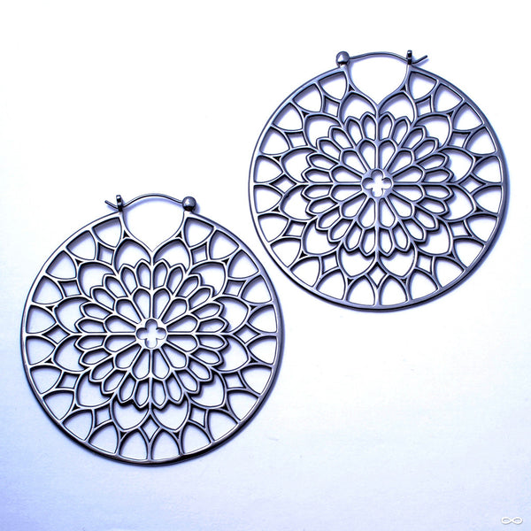Notre Dame Earrings from Tawapa in Black PVD Coated