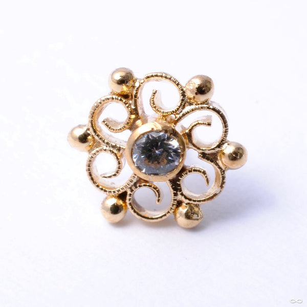 Padme Press-fit End in Gold from Quetzalli with Clear CZ