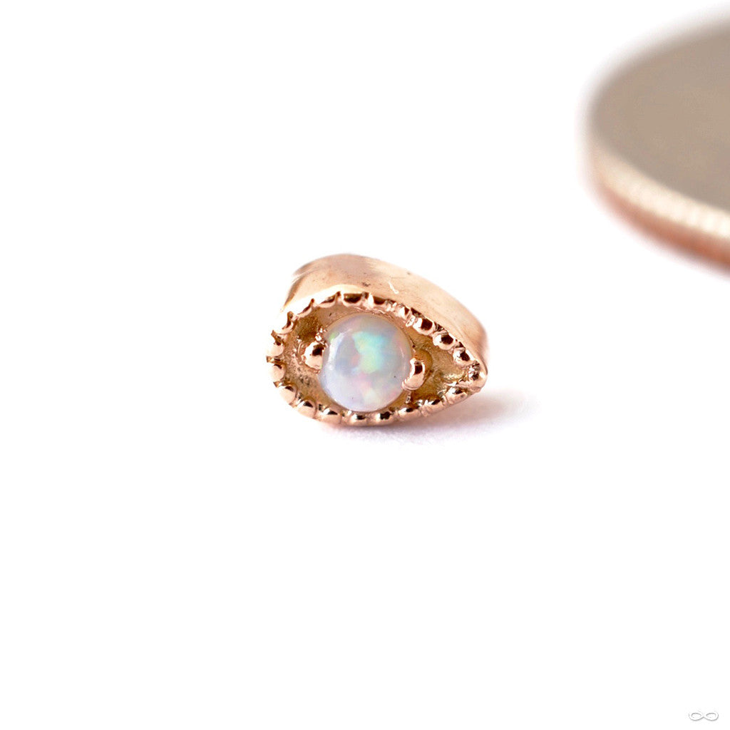 Pear Millgrain Press-fit End in Gold from Scylla in White Opal