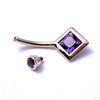 Princess-cut Navel Curve in Yellow Gold with Amethyst from BVLA