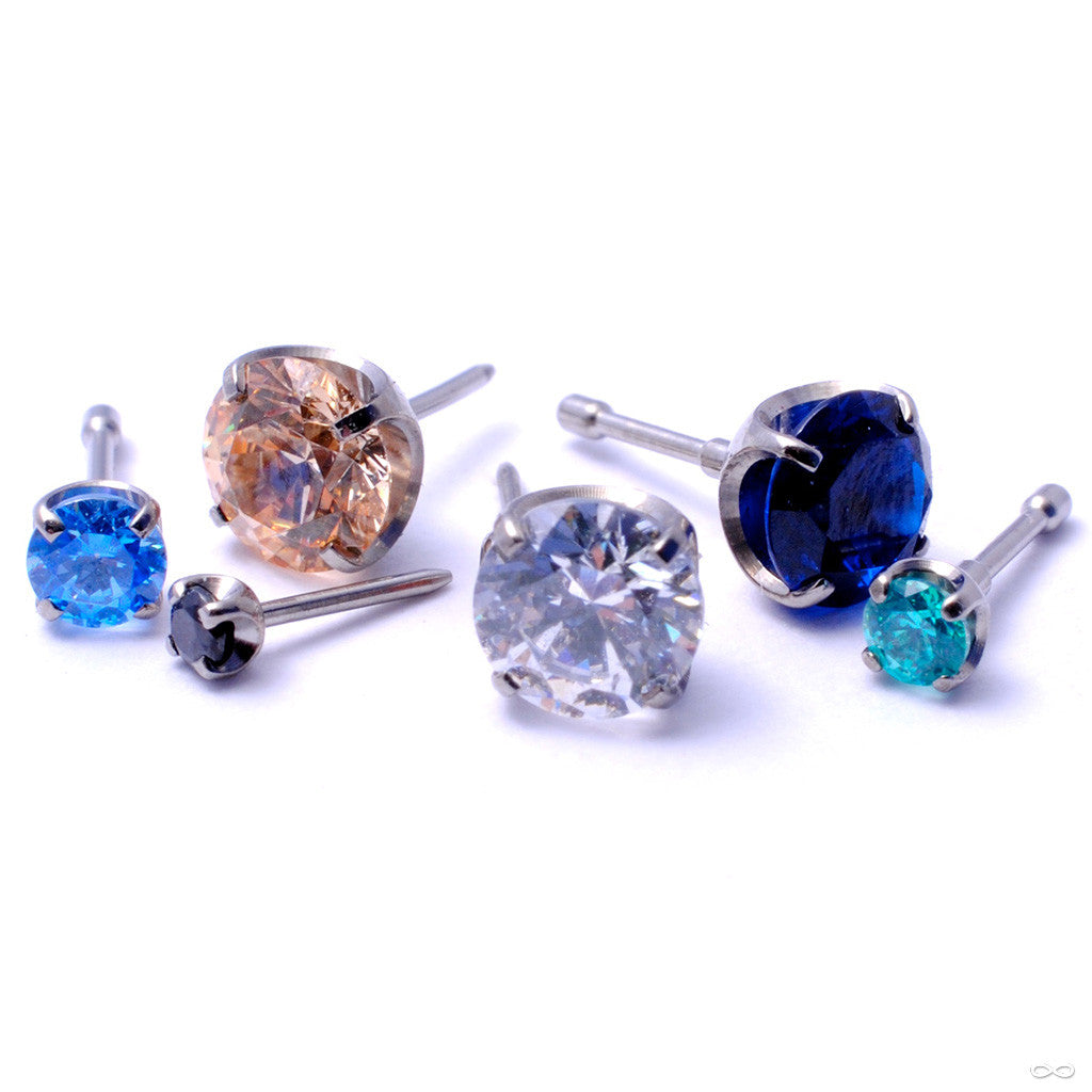 Prong-set Gemstone Press-fit End in Titanium from NeoMetal with Arctic Blue
