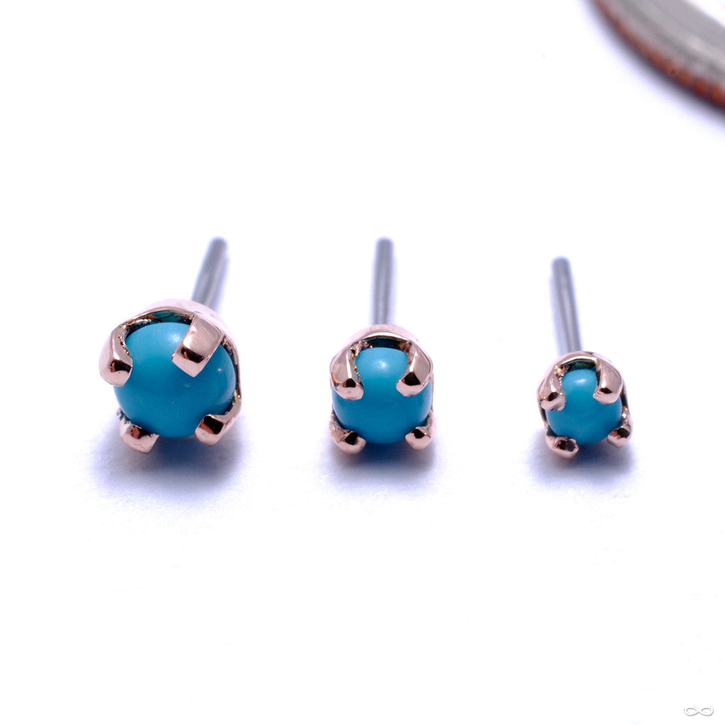 Prong-set Cabochon Press-fit End in Gold from LeRoi with Turquoise