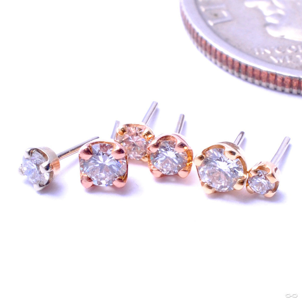 Prong-set Diamond Press-fit End in Gold from BVLA in Assorted Sizes