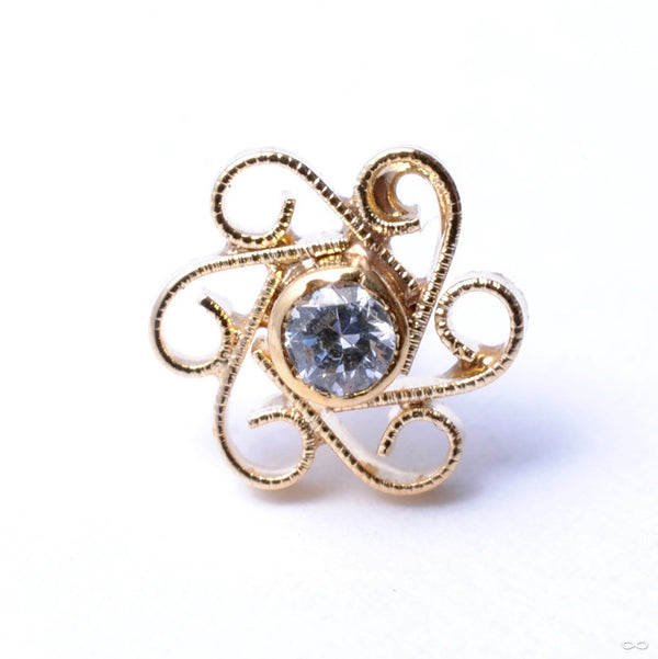 Shakti Press-fit End in Gold from Quetzalli with Clear CZ