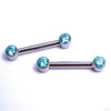 Side-set Gem Barbell in Titanium from Anatometal with Mint CZ