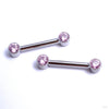 Side-set Gem Barbell in Titanium from Anatometal with Pink CZ