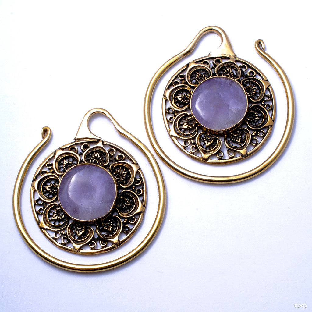 Summit Hoops in Brass with Amethyst from Oracle
