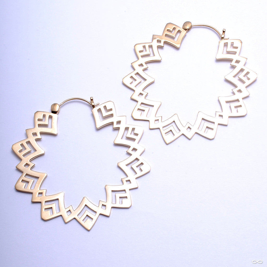 Sunflower Earrings from Tawapa in Yellow-gold-plated Brass