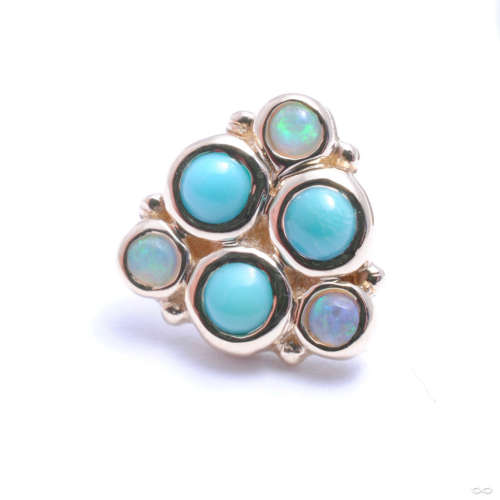 Thora Press-fit End in Gold from BVLA with Turquoise w/ White Opal