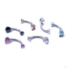Three Prong Gem Curved Barbell from Industrial Strength with Assorted Stones