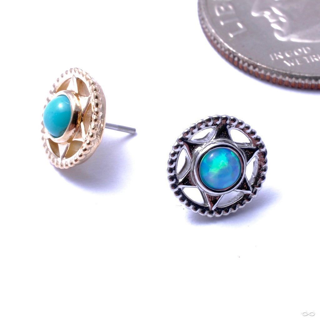 Vice Press-fit End in Gold from Anatometal with Light Blue Opal