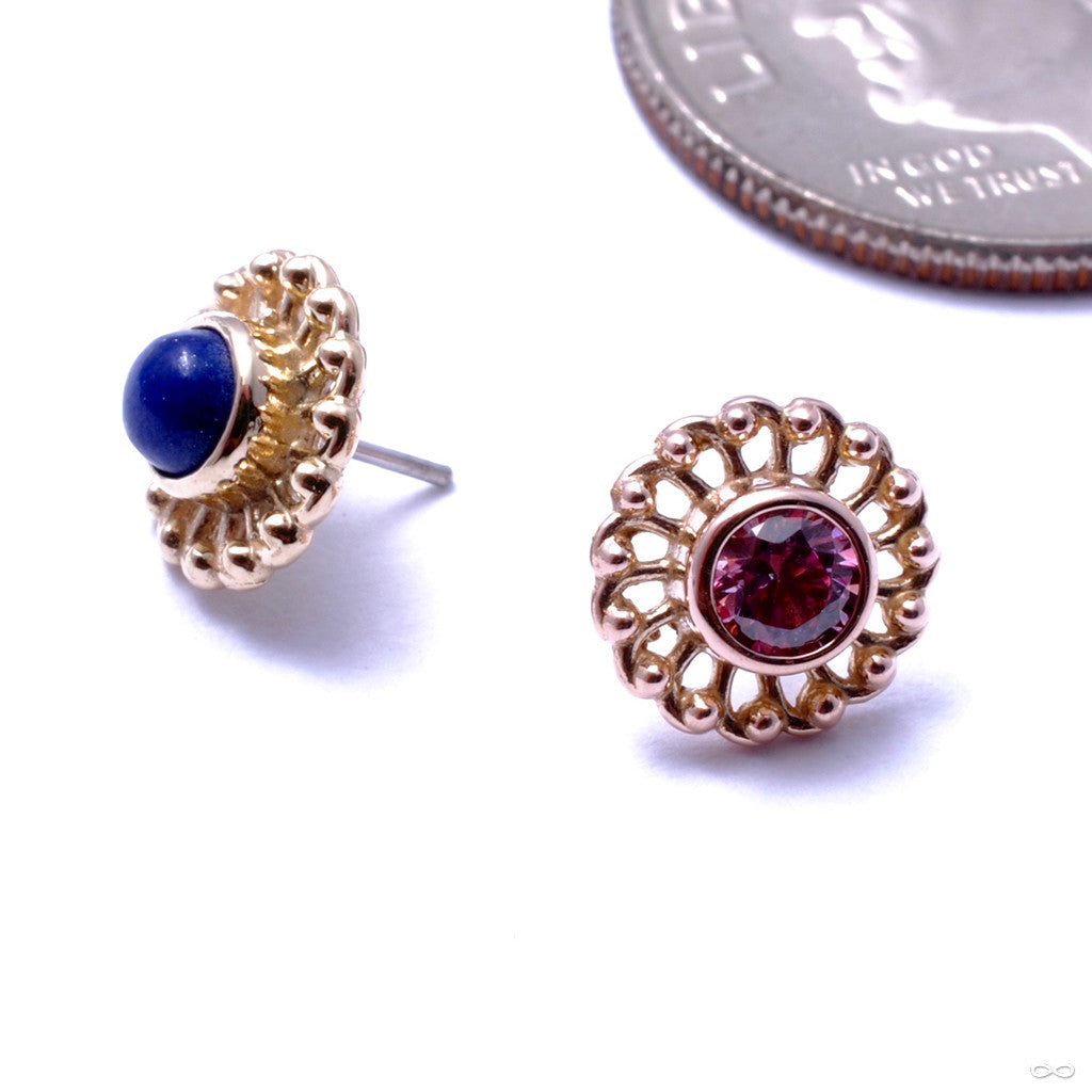 Virtue Press-fit End in Gold from Anatometal with Salmon Pink CZ