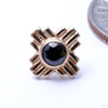 Zia Press-fit End in Gold from LeRoi with Black CZ