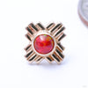 Zia Press-fit End in Gold from LeRoi with Red Opal