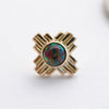 Zia Press-fit End in Gold from LeRoi with Black Opal