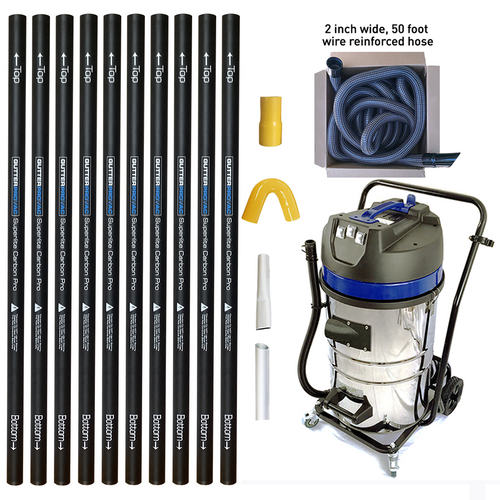 20 Gallon Gutter Vacuum with 40 foot (3 story) reach carbon gutter poles with 2 inch 50 foot hose kit